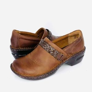 B.O.C. Brown Leather Clogs Size 9.5